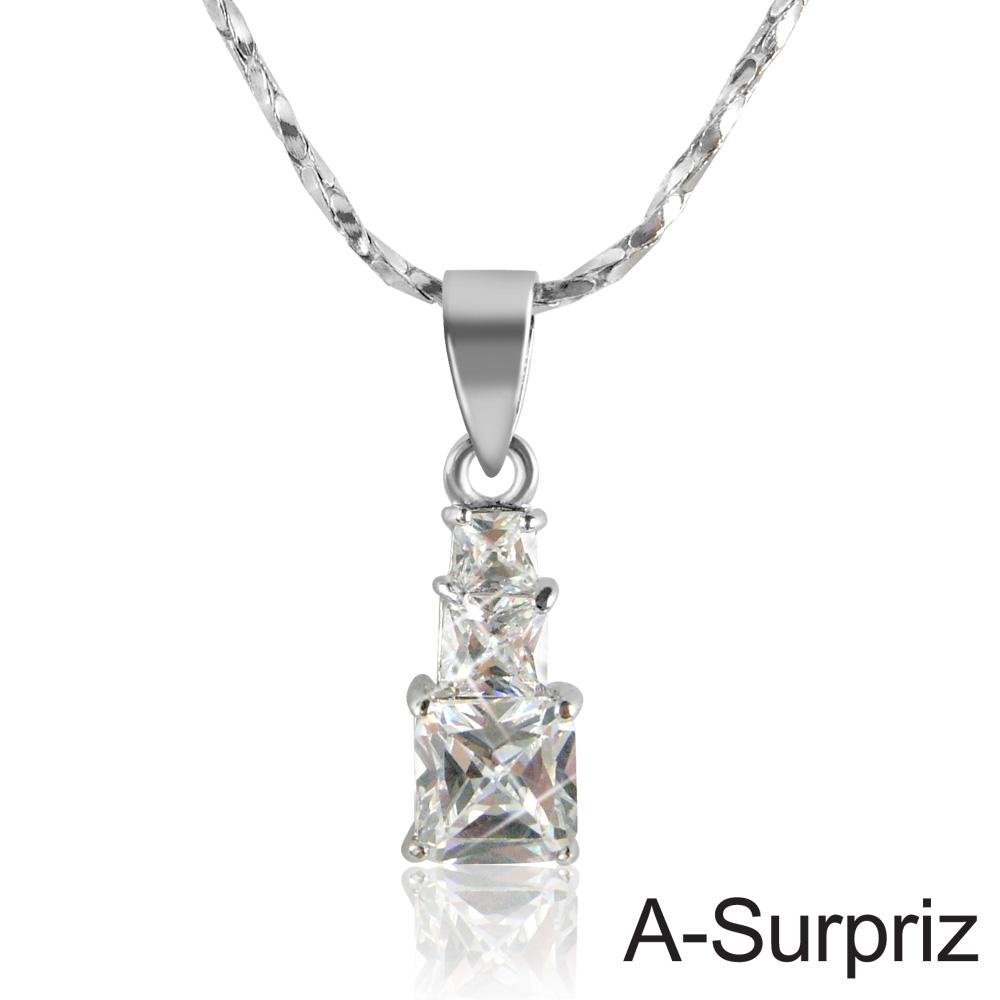 A-Surpriz 甜蜜方糖鋯石項鍊