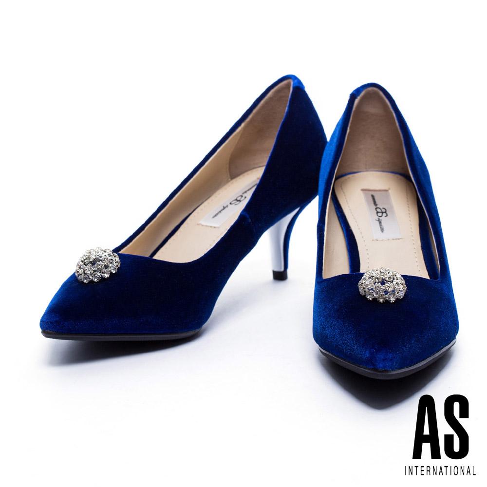 跟鞋 AS 奢華優雅白鑽飾點綴絲絨尖頭跟鞋-藍