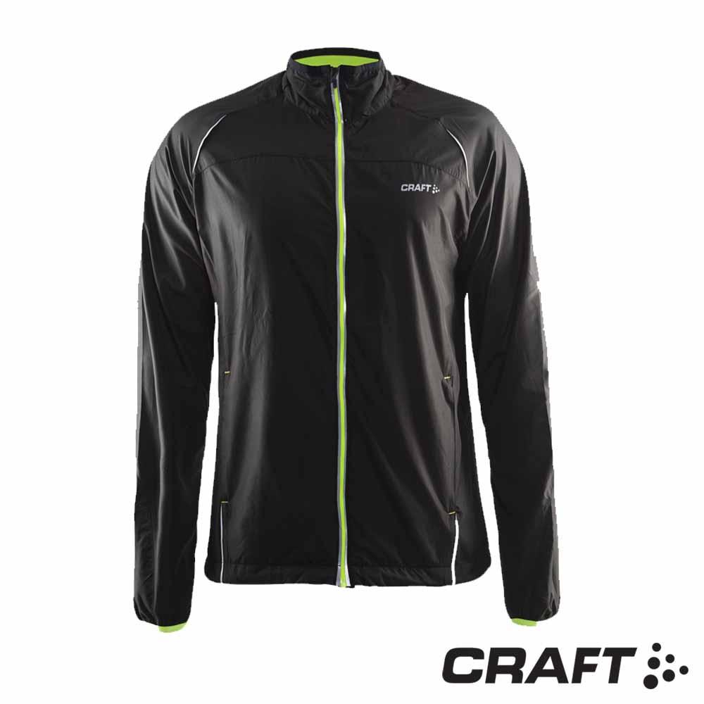 【瑞典 Craft】男款  ACTIVE RUN 反光防風防潑跑步外套_黑/黃