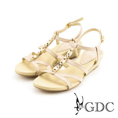 GDC-性感水鑽側扣帶楔型厚底羅馬風真皮涼拖鞋-粉膚色