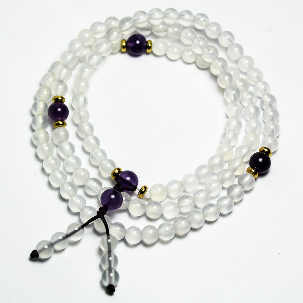 A1寶石 3A頂級-紫水晶/白水晶108念珠--富貴化煞招財開運-名師指定款(含開光加持 @ Y!購物