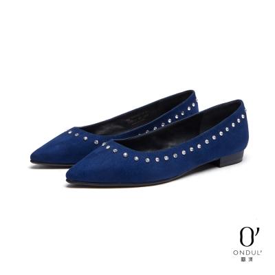 達芙妮x高圓圓-圓漾系列-平底鞋-絨布綴鑽平底尖頭鞋-藍8H