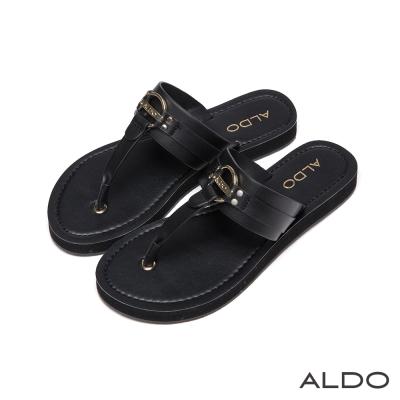 ALDO-原色金屬LOGO鏤空T字夾腳涼鞋-尊爵黑