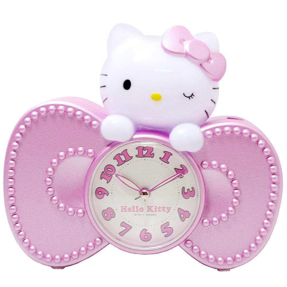 Hello Kitty蝴蝶結超靜音貪睡鬧鐘 JM-E601KT