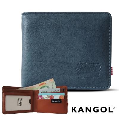KANGOL 韓式潮流 多夾層橫式短皮夾+鑰匙圈禮盒-皮紋藍