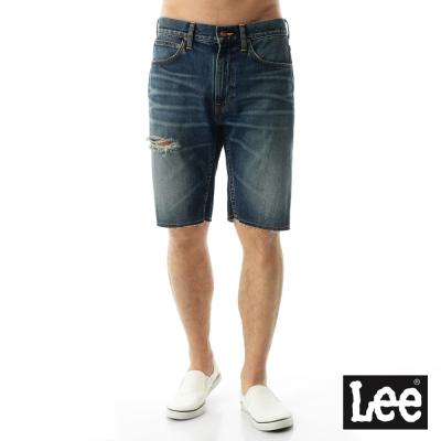 Lee 牛仔Vintage Laundry破壞短褲-男款-藍