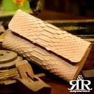 2R 珍稀蟒蛇皮 限量訂製三摺長夾 裸膚杏