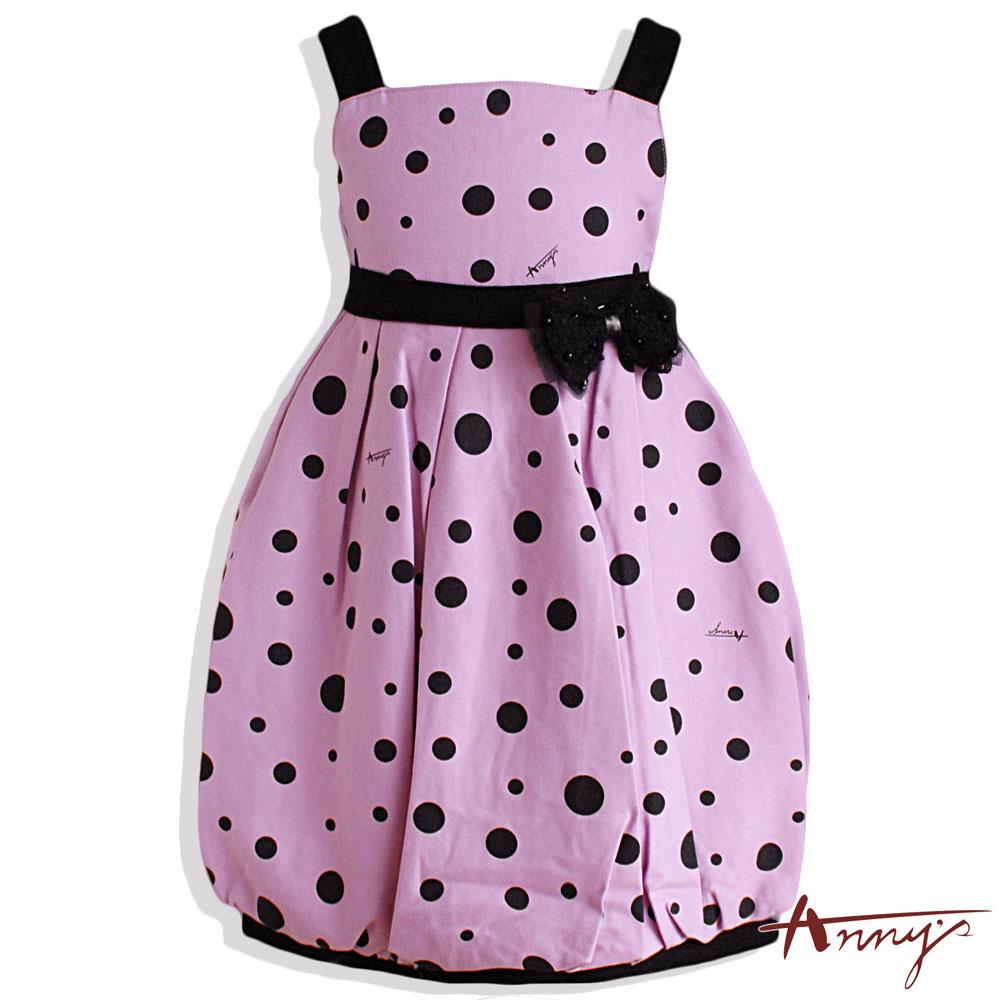 Anny甜美普普點點蝴蝶結肩帶洋裝*4229紫