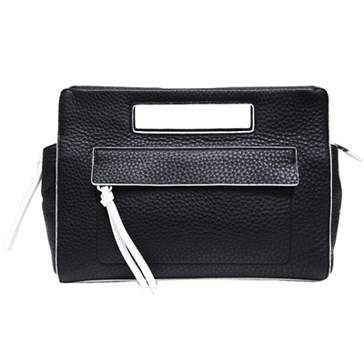 COACH荔枝紋雙色皮革手提包-黑白