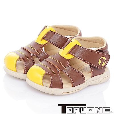 TOPUONE 手工款牛皮超纖減壓防滑學步涼鞋童鞋-咖啡