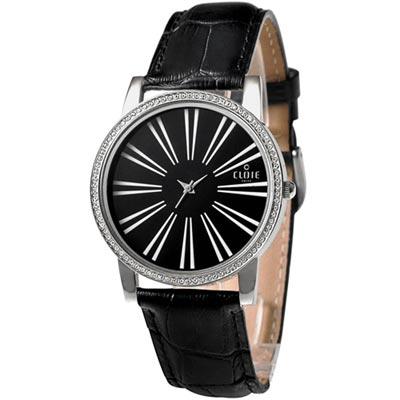 CLOIE 簡約魅力晶鑽時尚腕錶-黑/39mm