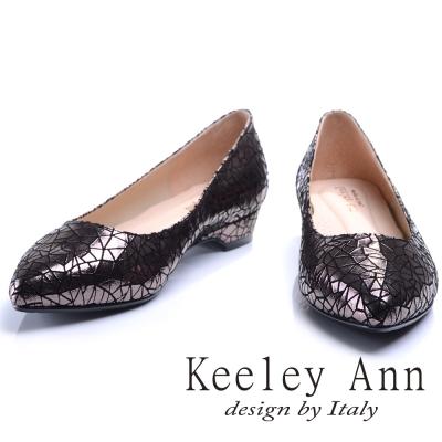 Keeley Ann 爆裂質感~三角幾何金屬亮澤OL全真皮低跟鞋(槍色)