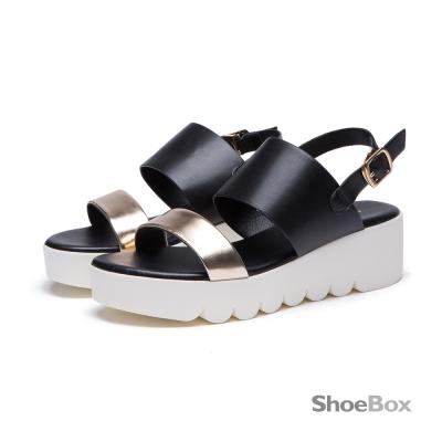 鞋櫃ShoeBox-涼鞋-寬版一字楔型厚底涼鞋1116303017-黑