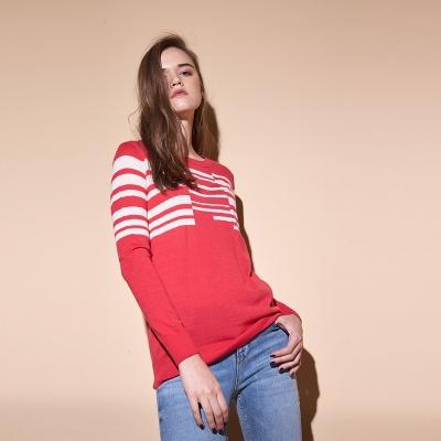 百搭無印風條紋印花羊毛針織造型上衣(兩色)-紅