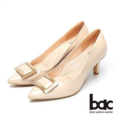 bac時尚美人-方形裝飾漆皮尖頭高跟鞋-粉珠光