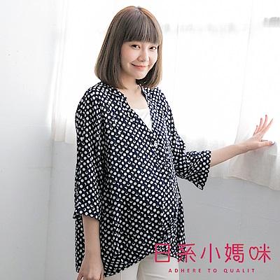 日系小媽咪孕婦裝-哺乳衣~假二件V領斑駁感點點雪紡上衣 (共三色)