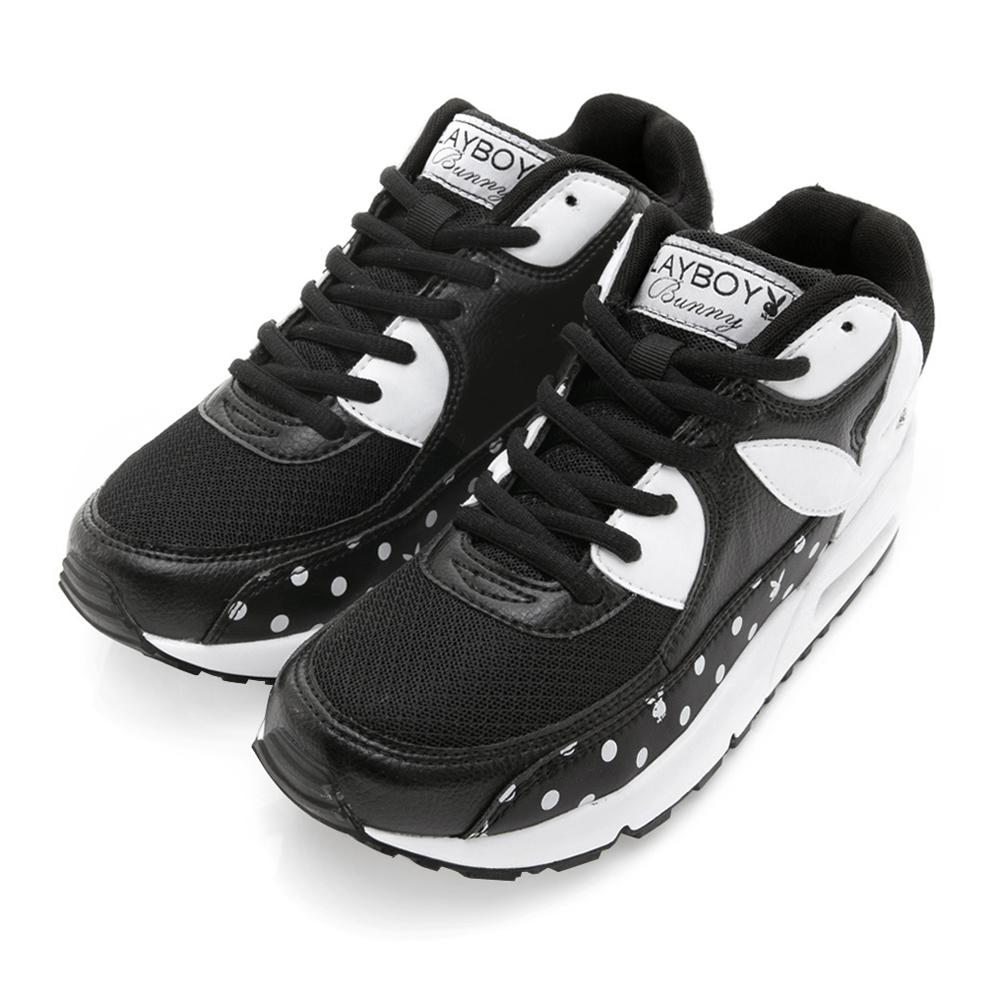 PLAYBOY 夢幻逸品 水玉點點氣墊運動鞋-黑