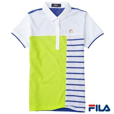 FILA女性色塊條紋POLO衫-純淨白-5POP