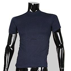 BURBERRY 日本製經典格紋純棉紫領短袖上衣(藍色)