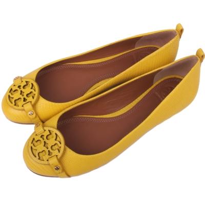 TORY BURCH Miller 系列盾牌牛皮壓紋平底娃娃鞋(鮮黃色)