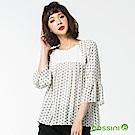 bossini女裝-七分袖印花罩衫灰白