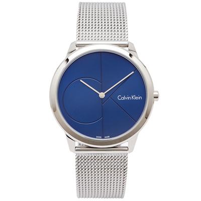 CK  極簡LOGO風格米蘭帶手錶(K3M2112N)藍面x銀色/40mm