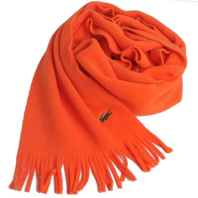 LACOSTE 經典品牌鱷魚圖騰刺繡LOGO造型保暖圍巾(鮮橘)