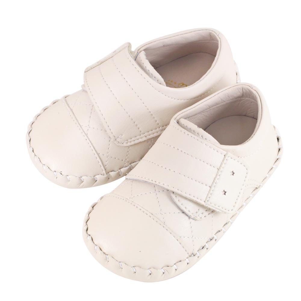 Swan天鵝童鞋-簡約菱格紋學步鞋1557-米