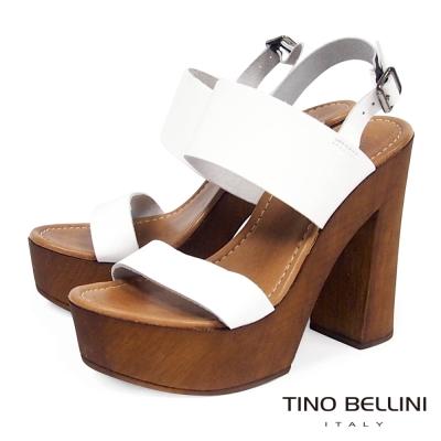 Tino Bellini 義大利進口70狂潮摩登粗跟涼鞋 白
