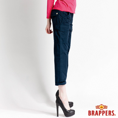 BRAPPERS 女款Boy Friend Cargo系列-女用3D八分反摺褲-湛藍
