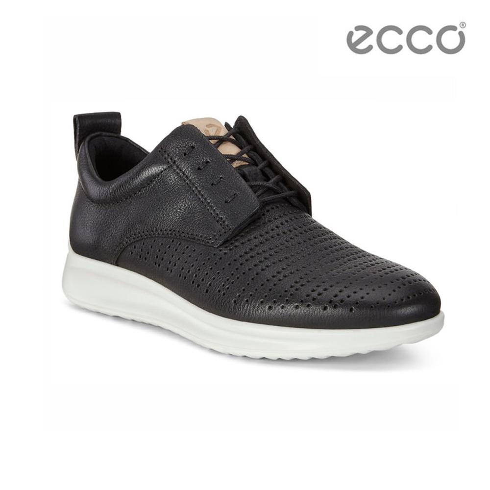 ECCO AQUET 隱藏式鞋帶休閒運動鞋-黑