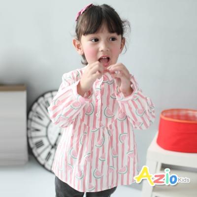 Azio Kids 童裝-上衣 立領滿版西瓜直紋棉質上衣(粉)
