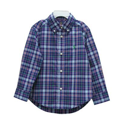 Ralph Lauren 男童小馬多色格子長袖襯衫-皇家藍(2/2T)