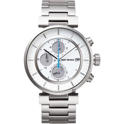 ISSEY MIYAKE 三宅一生 W 系列計時手錶(SILAY007Y)-白x銀/43mm