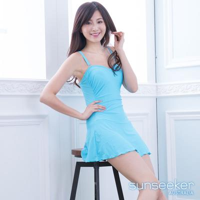 澳洲Sunseeker泳裝性感平口連身式洋裝泳衣-藍