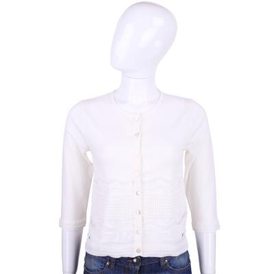 BLUGIRL 白色簍空造型拼接小外套