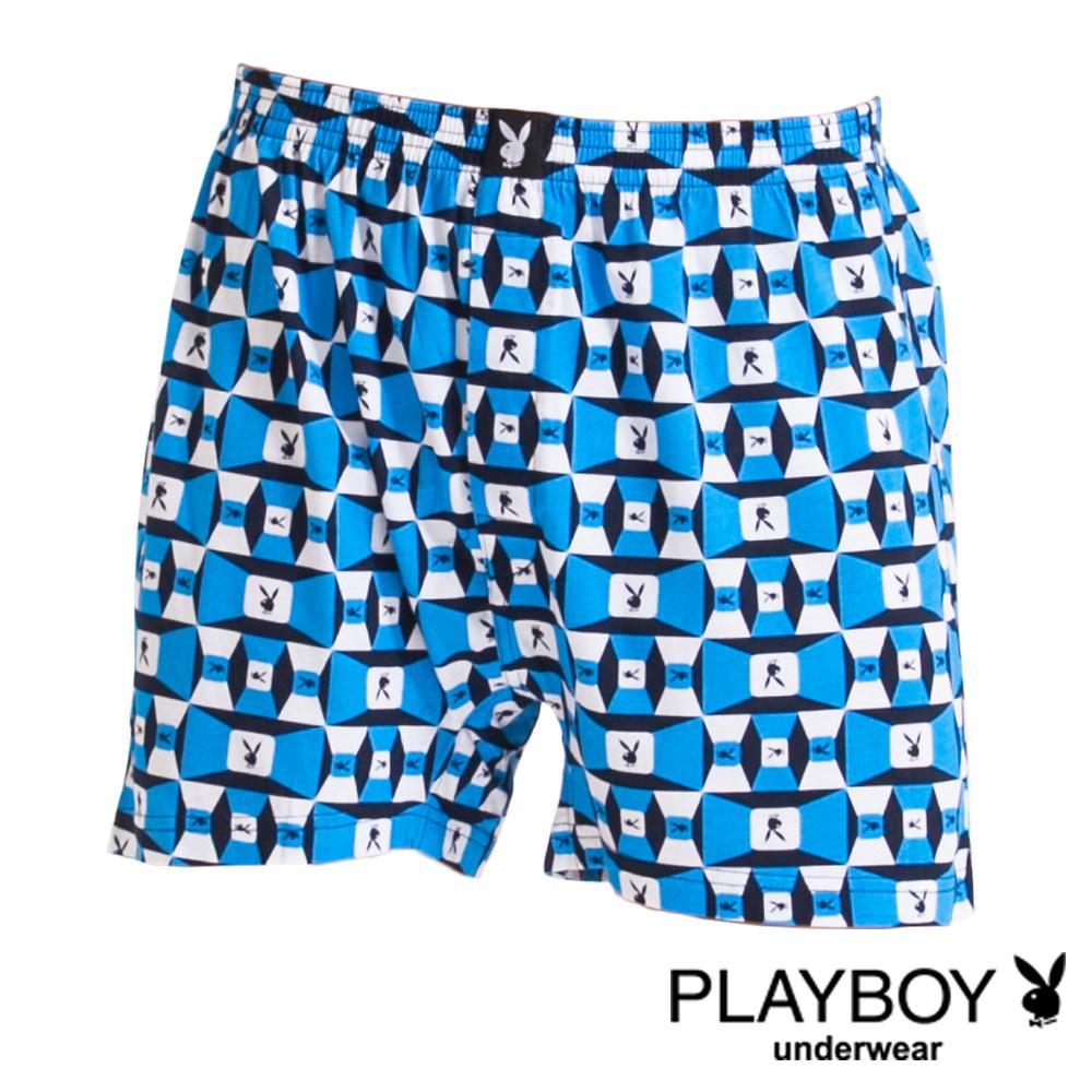 PLAYBOY MIT製LOGO印花精梳棉四角褲-單件(淺藍底方塊兔)