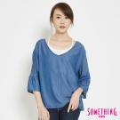 SOMETHING 綁帶V領七分袖造型T恤-女-拔洗藍