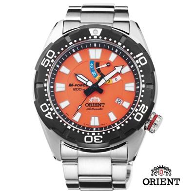 ORIENT 東方錶 M-FORCE 200米潛水機械錶-橘色/44mm
