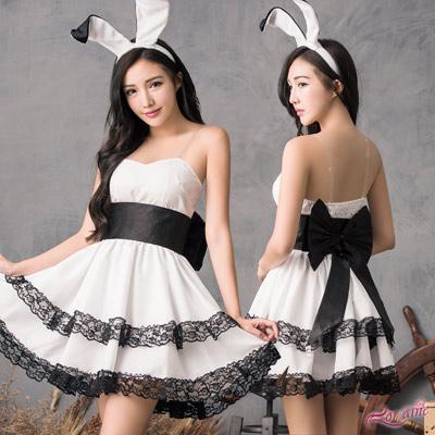 兔女郎 甜美黑白配兔女郎角色扮演服四件組(白F) Lorraine