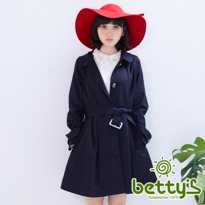 betty's貝蒂思 修身腰間綁帶風衣(藍色)