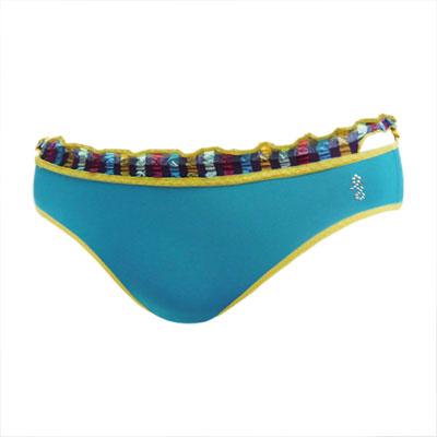 【瑪登瑪朵】摩登V拉  低腰寬邊三角萊卡褲(純淨藍)