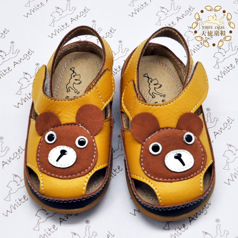 WhiteAngel天使童鞋-I704 可愛小熊涼鞋-咖啡色