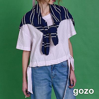 gozo 清新方格雙蝴蝶結圓領上衣(二色)