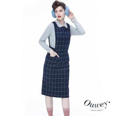OUWEY歐薇-單色格紋2Way背心洋裝-藍
