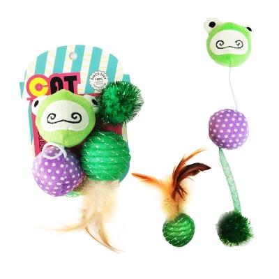 寵喵樂 青蛙&球&羽毛玩具