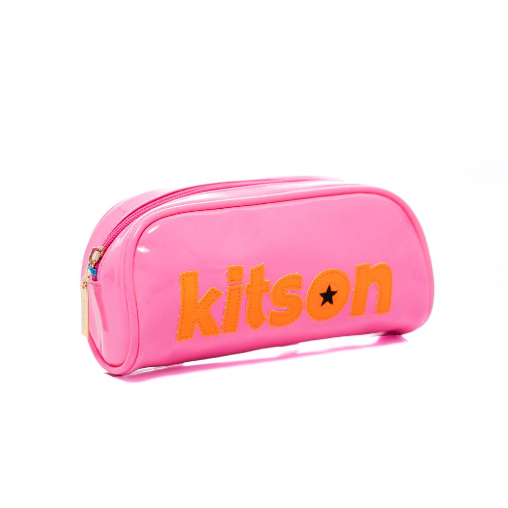 【kitson】 星星LOGO 漆皮化妝包 (螢光粉)