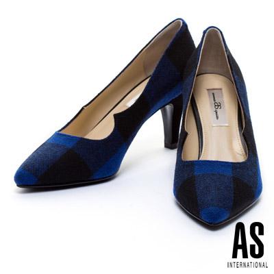 高跟鞋 AS 經典英倫格紋毛呢布高跟鞋 - 藍