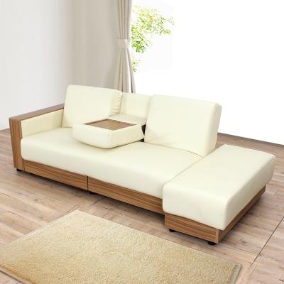 日安家居-Dick狄克法式多功能皮沙發/沙發床3人座+腳凳