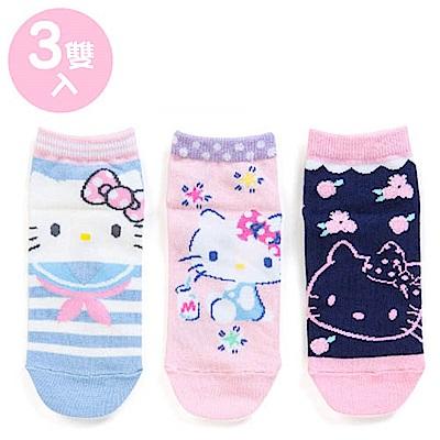 Sanrio HELLO KITTY 3入兒童短襪/腳踝襪16-18cm(大臉海軍)